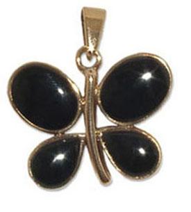 7228-1 Bronshänge med svart onyx sten.