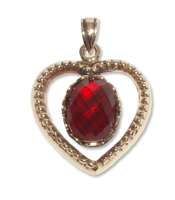 7283-3 -  Bronshängen Hjärta med CZ Röd sten.