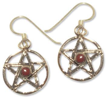 8097-2   Bronsörhängen Pentagram  med Röd karneol sten.