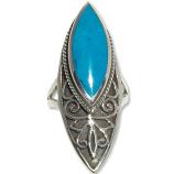 4105 - Silverring Keltisk med Turkosfärgad sten.
