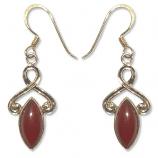 8245 - Bronsörhänge Keltiskt med Röd karneol sten.
