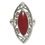 4082 -5 Silverring  med Röd karneol sten.